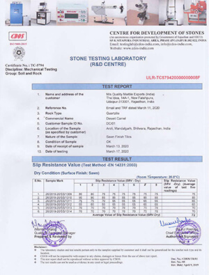 The Desert Camel Quartzite Slip Resistance Test Report Submitted to London City Council