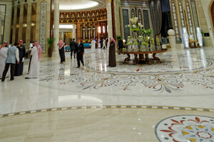 Sophisticated And Luxurious Marble Tiles In Ritz Carlton Hotel