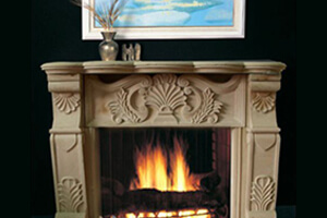 Honed Sandstone Fireplace For Artistic Look